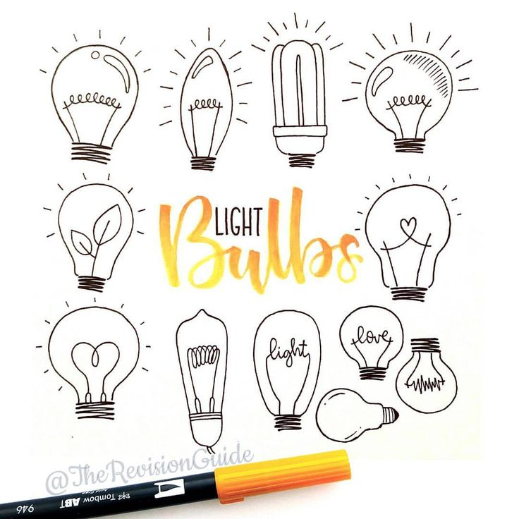 """Apsi's sketchnotes and doodles on Instagram: """"Light bulbs # More how to draw doodles at  #TheRevisionGuide_Icons"""