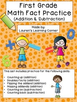 In need of differentiated math practice?  This set of printables include math fact practice for addition and subtraction.  This set is designed for first grade but would work well for kindergarteners who are exceeding grade level expectations or for second graders who are not yet meeting grade level expectations or struggling with certain skills.