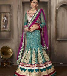 Elegant Teal Blue Embroidered Lehenga Choli punjabi-lehenga online