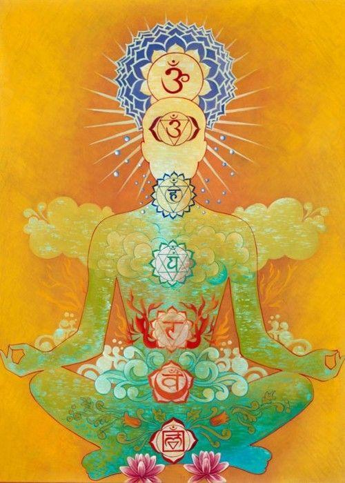 """A palavra """"Chakra"""" vem do Sânscrito e significa """"roda de luz"""". Os Chakras são centros de energia, que representam os diferentes aspectos da natureza sutil do ser humano. São eles: corpo físico, emocional, mental e energético. Os sete principais Chakras ficam localizados ao longo da coluna vertebral do corpo humano e, segundo a Tradição Hindu, seguem as cores do arco-íris."""