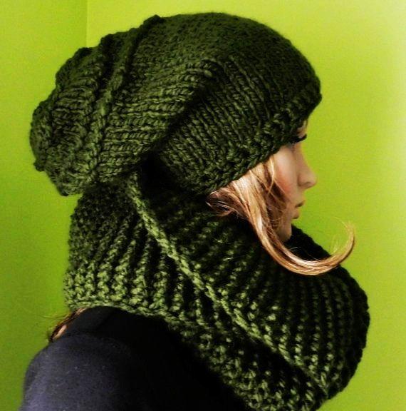 Super CHUNKY -  hand knit HIPPIE Hat/Scarf   Set  - Slouchy Hat  and Tube Scarf , chunky Cap, Slouch Hat,  Big Beanie, Winter Hippie Set