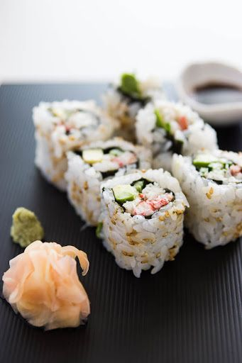 California Roll With Sushi Rice, Avocado, Crabmeat, Seeds, Nori, Toasted Sesame Seeds, Wasabi, Soy Sauce