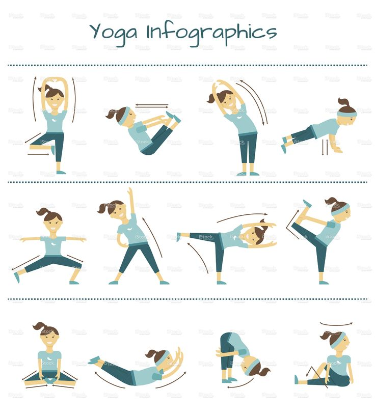 Spine, neck and muscle pain exercises. Vector yoga infographics stock vector art 78520999 - iStock