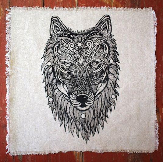 "Sacred Geometry Wolf Spirit Crystal Grid Altar Cloth 15"" x 15"" Hand printed linen"