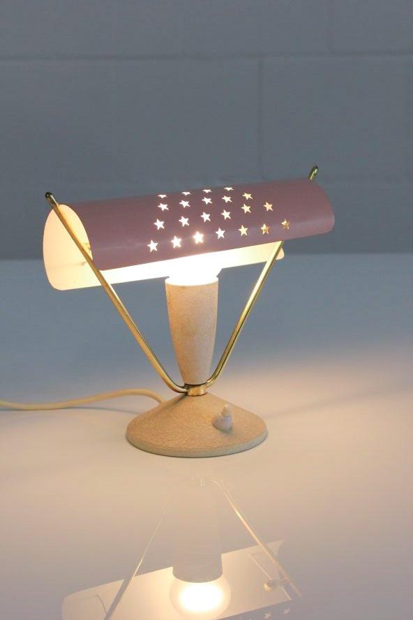 Lovely Alte Tisch Lampe mit Sternenhimmel er Jahre alte Nachttisch Leuchte vintage