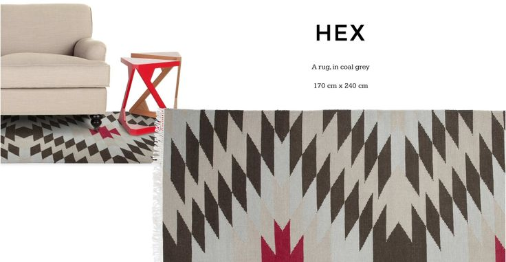 Hex Spot Rug 170 x 240cm in coal grey | made.com
