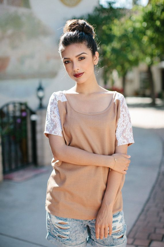 Womens Camel Lace Blouse Top Shirt Lamixx Limited by lamixx, Gifts for women Handmade