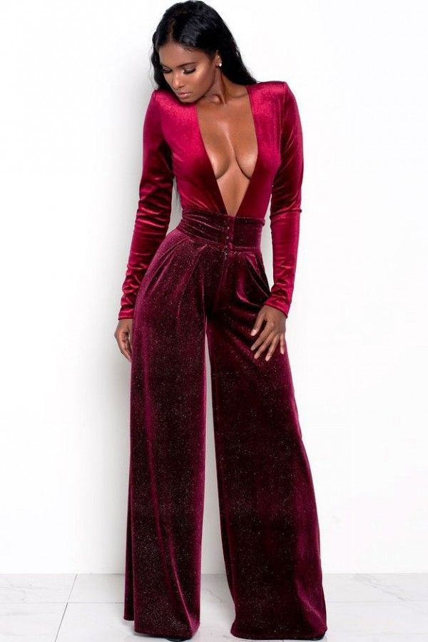 9cde33b3dd0 Dark Red Burgundy Plunging Long Sleeve Sexy Wide Leg Velvet Corset Jumpsuit