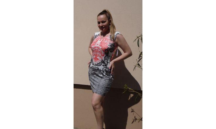 Narancssárga ruha - nyári ruhák online - rövid ujjú ruha - türkiz fehér színű - Ruha webáruház - Női Ruha Webáruház, Alkalmi ruhák webshop, tunika felső