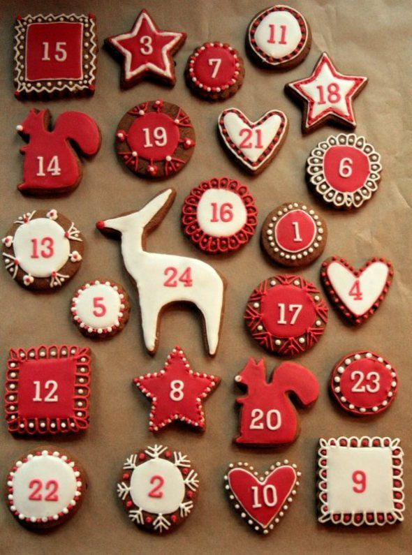 These gingerbread advent calendar cookies are the creation of Jules at her blog www.butcherbakerblog.com. She provides the recipe & a step by step tutorial. Thank you, Jules!