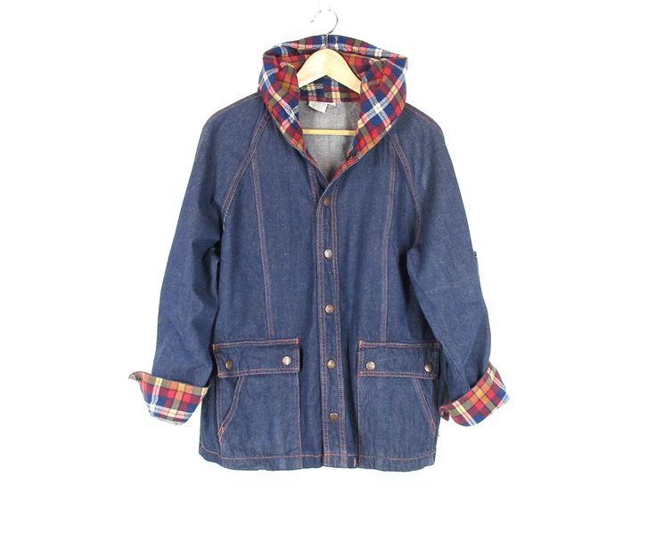 Vintage Hooded Denim Jacket -- Jean Jacket Hoodie -- Plaid Flannel Lined Jacket -- 80s Denim Coat -- Blue Jean Parka -- Womens M / L by ImprovGoods on Etsy