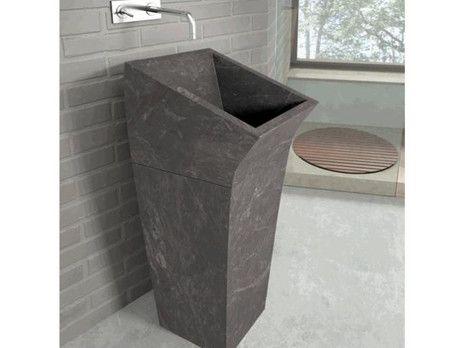 Lungo Square Negro Bathco umywalka kamienna 380x450x900 - 00359  http://www.hansloren.pl/Umywalki-kamienne/598