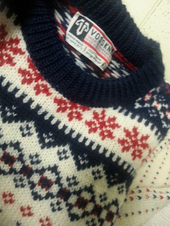 Vossknit Norwegian Wool Ski Sweater by vitch on Etsy