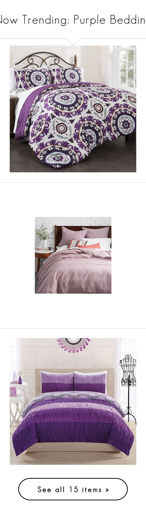 """Now Trending: Purple Bedding"" by polyvore-editorial ❤ liked on Polyvore featuring NowTrending, homedecor, purplebedding, home, bed & bath, bedding, comforters, purple, lavender comforter and light purple comforter"