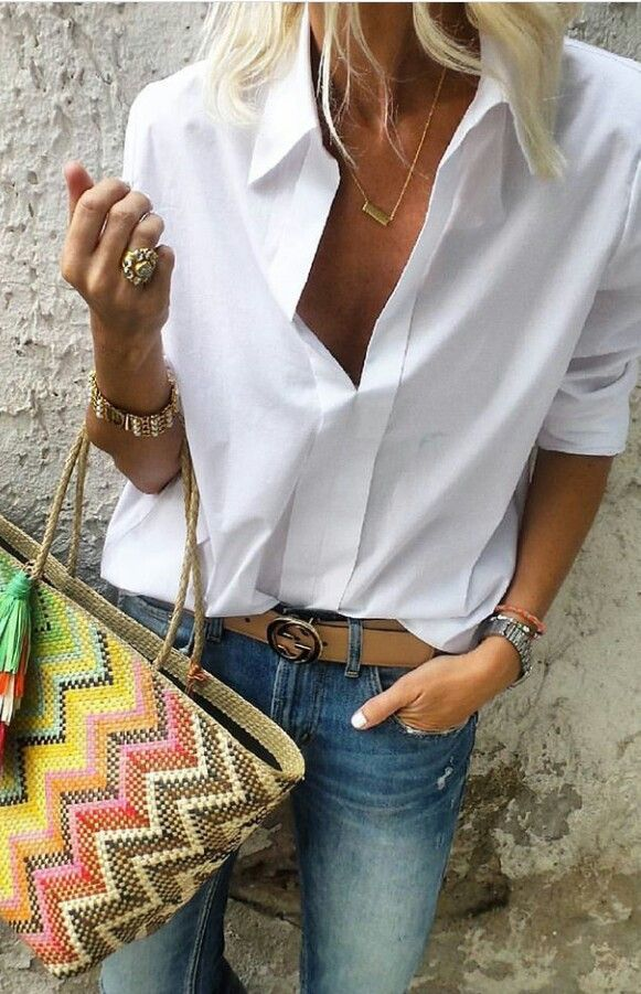 White button front shirt with jeans and belt