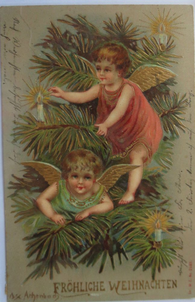 Weihnachten, Engel, Weihnachtsbaum  1903, Golddruckprägekarte ♥ (4577)
