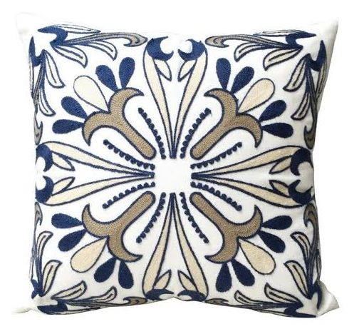 NEW in - our gold, blue and white embroidered cushion. Another stunning cushion in our latest collection.