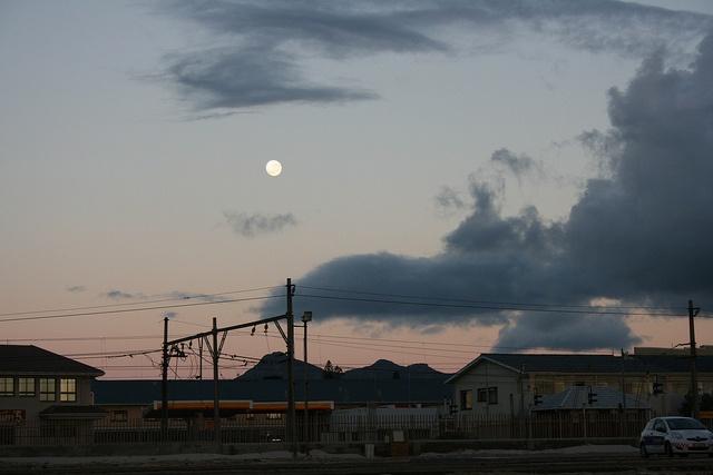 Day-old full moon over Fish Hoek by GreenHairMermaid / Joy-Anne Goodenough, via Flickr