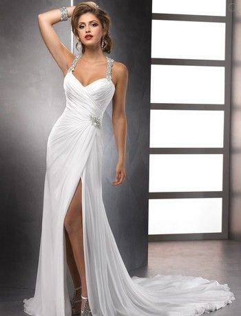 Bridal Gowns: Maggie Sottero Sheath Wedding Dress with Sweetheart Neckline and Natural Waist Waistline