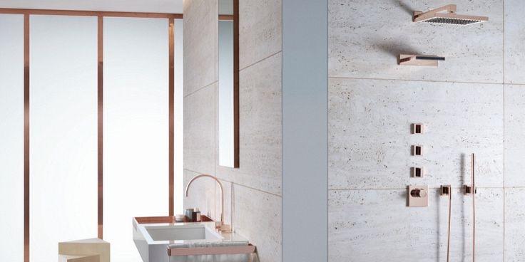 Om Blandare för badrum© | Dusch med väggbeklädnad i Travertin marmor set MEM Pronto Kakel®