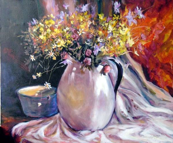 Bodegón con flores