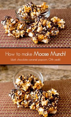 Dark Chocolate Caramel Popcorn - this is a customizable copycat recipe for Harry & David's Moose Munch. Just try not to eat it all in one sitting - sooo good.