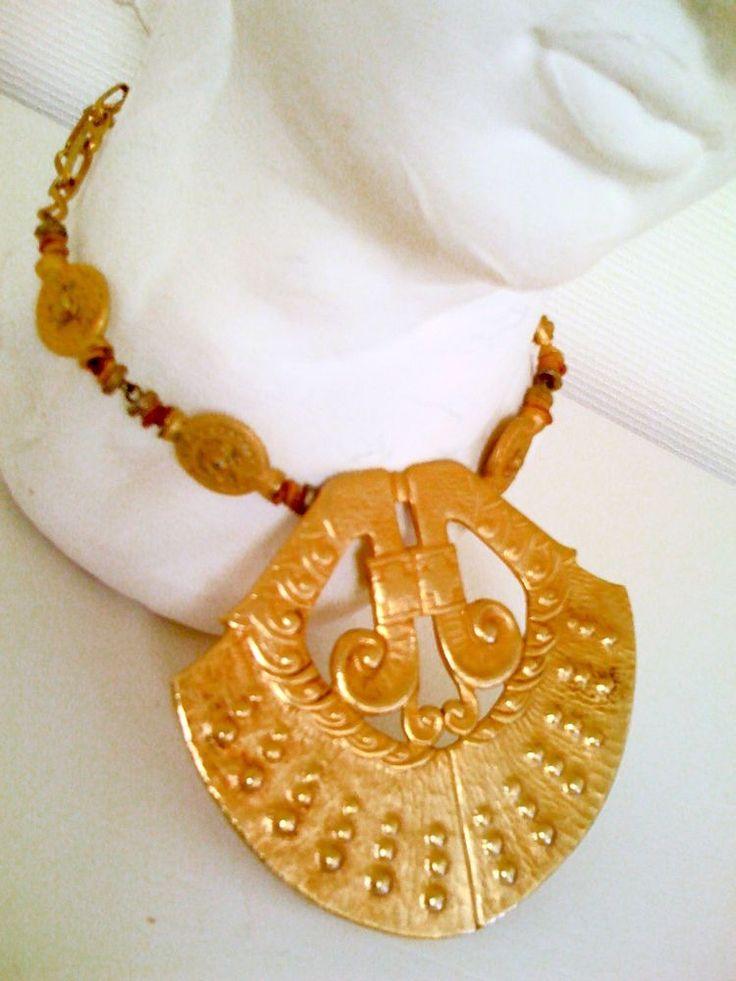 UNIKAT / HALSKETTE goldfarbenes Amulett griechisch-römisch / in Uhren & Schmuck, Modeschmuck, Halsketten & Anhänger   eBay!