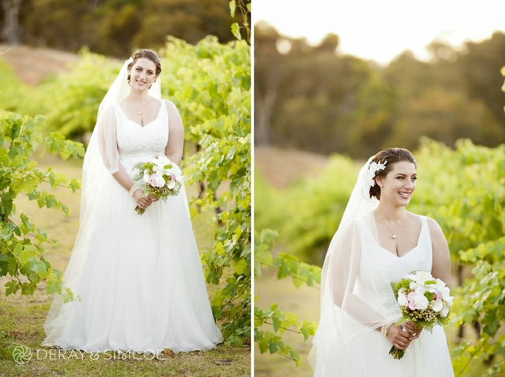 Bride wearing a Fara Couture gown in the vineyards of Carilley Estate, Swan Valley Western Australia Photography by DeRay & Simcoe
