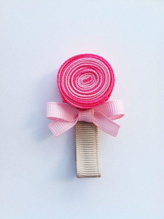 Lollipop Hair Clip, Pink Lollipop Ribbon Hair Clip, Candy Hair Clip, Sweet Shoppe Birthday Party, Party Favor, Toddler Hair Clip