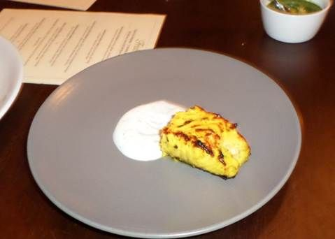Ajwaini Salmon Tikka with carom seed and dill raita @ Trishna, London