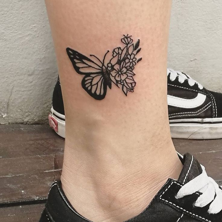 Butterfly With Flowers Ankle Tattoo Designs Butterfly Ankle Tattoos Foot Tattoos Tattoos