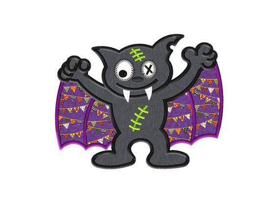 Zombie Bat Halloween Applique Design  Instant by AppliqueDownload, $4.99