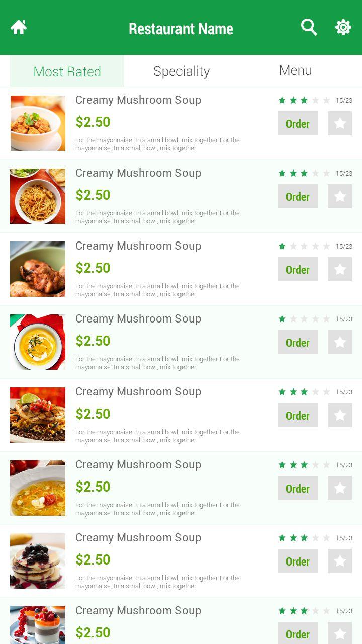 Restaurant apps design