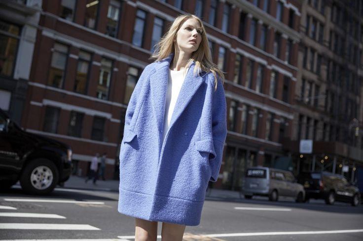 LOOKAST CHAPTER #5 - 2014 fall winter in New Yorkk_ Sky blue zipper detailed coat