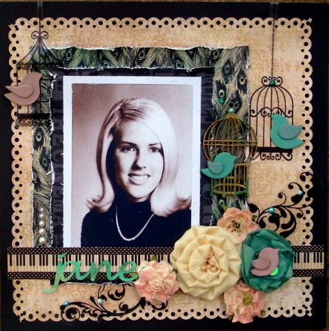 Use solid color base, print paper background, another print paper section as shown, then torn colored paper mat. Ribbon where the piano keys paper is. Add graphics and flowers. vintage scrapbook layout