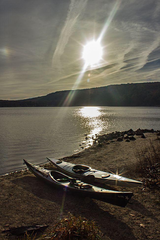 Kayaks on the shore of Devil's Lake. #kayak #kayaking #kayaker