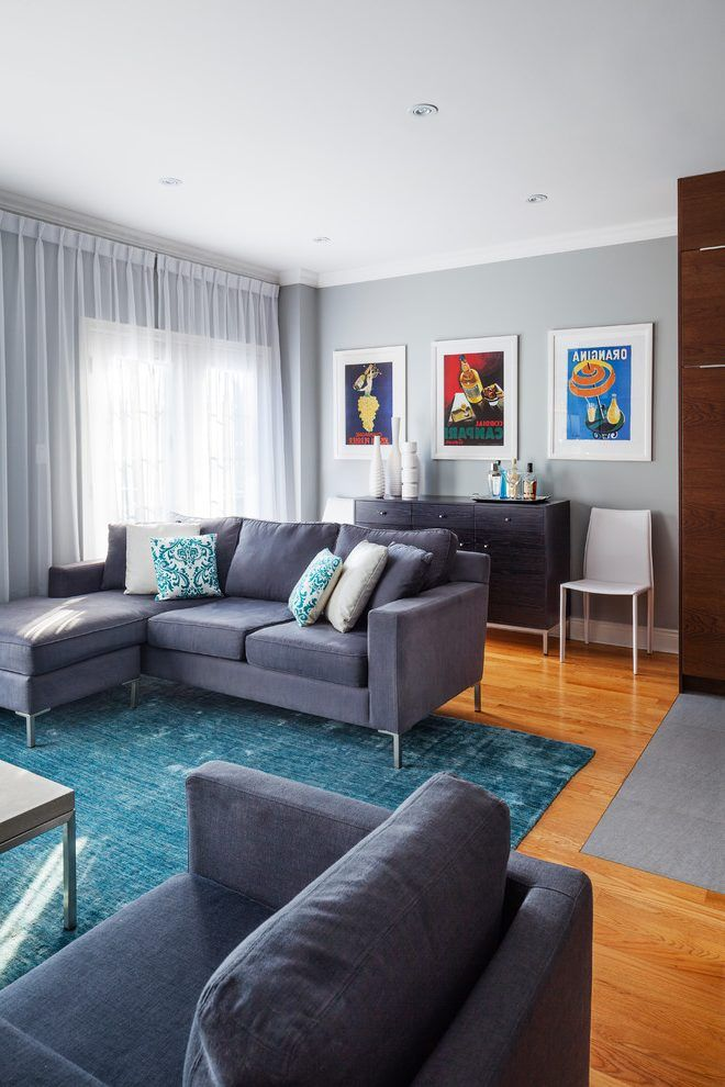 Grey And Blue Area Rug Living Room Transitional With Wood Floors