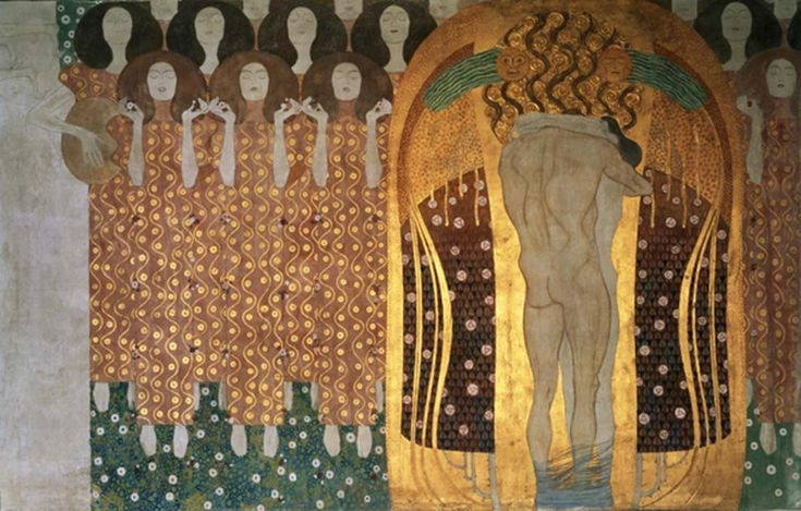 The Beethoven Frieze was painted by Klimt directly on the wall as a temporary mural installation using light materials including casein paint, graphite, chalk, gold paint, mother of pearl and mirror. The overall length is 34 feet, or 14 meters as it wraps around the room in a 2 meter strip around the top of the ceiling. This work of decorative art was intended to be destroyed, however it was saved due to a Klimt retrospective presented in 1903.