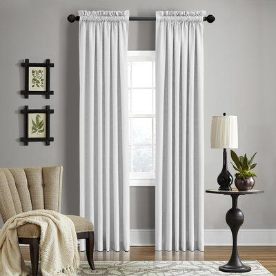 "Alcott Hill Brownstown Solid Semi-Sheer Rod Pocket Curtain Panel Color: Salt, Size: 50"" x 108"""
