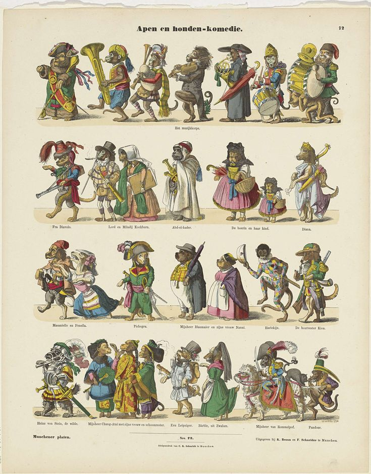 E. Ille | Apen en honden-komedie, E. Ille, K. Braun en Fr. Schneider, C.R. Schurich, 1843 - c. 1920 | Blad met 4 horizontale rijen met apen en honden verkleed als muzikanten en theaterfiguren. Onder de dieren de naam van het personage. Genummerd midden onder: Nro. 72. Genummerd rechtsboven: 72.