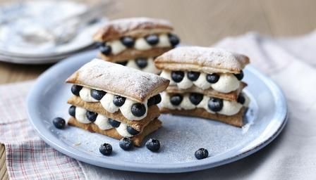 Blueberry and Lemon Millefeuille   http://www.bbc.co.uk/food/recipes/blueberry_and_lemon_03932