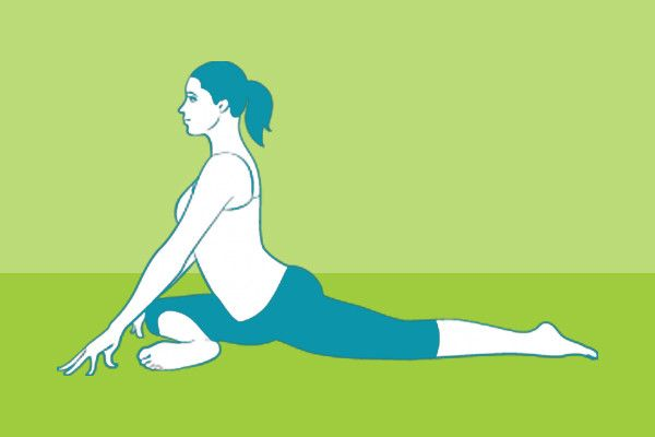 3. Pigeon Pose  Start in Downward-Facing Dog pose with your feet together.  Draw your right knee forward and turn it out to the right so your right leg is bent and your left leg is extended straight behind you. Slowly lower both legs.  Hold the position for five to ten breaths, then switch to the other side.