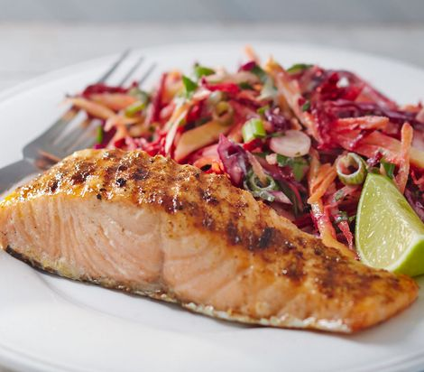 Impress your guests with an innovative twist on a BBQ classic. This delicious jerk salmon is served with a tangy mango slaw and can be cooked in less than 10 minutes.