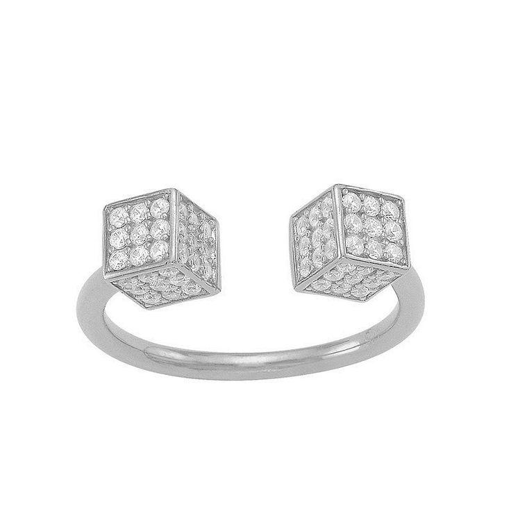 Δαχτυλίδια : Ασημένιο Δαχτυλίδι SENZA Ζάρια Silver White Crystals