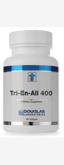 Tri-En-All 400 by Douglas Laboratories - contains 400 I.U. of 100% natural-source, unesterified vitamin E (d-alpha-tocopherol), as well as a guaranteed minimum of the d-beta, d-gamma and d-delta tocopherols, which is unique among most mixed tocopherol products available. In addition, 25 mg of palm derived mixed tocotrienols are included in TriEn-All 400. No synthetic vitamin E is used.