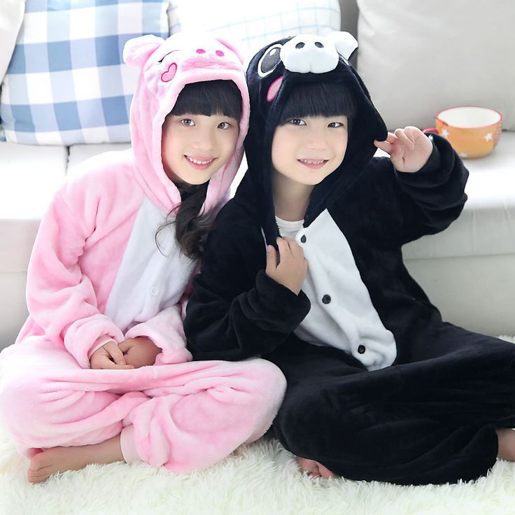 Novelty Animal Cartoon Pink/Black Pig Onesie Boys Girls All In One Party Halloween Christmas Costumes Jumpsuits Sleepwear //Price: $27.95 & FREE Shipping //     #hashtag4