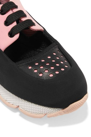 Prada - Cutout Leather-trimmed Neoprene Sneakers - Black - IT35.5