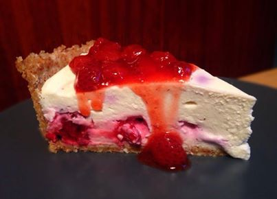 Berry Lime Cheesecake with Strawberry Sauce. *Sugar Free, Gluten-Free, Nut-Free Option
