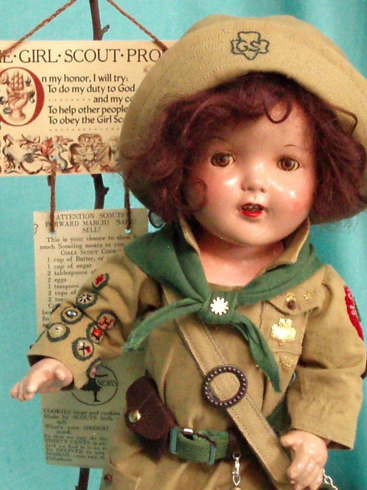 HAZEL TWIGG No. 104 GEORGY GIRL SCOUT Brown Tin Eyes Vintage Composition Doll