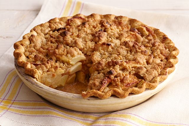 Celebrate the fall harvest with a fresh baked apple pie.  A buttery streusel topping is the crowning glory in this Apple Crumb Pie.